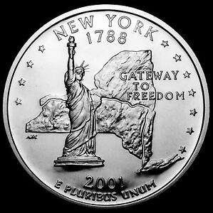 2001 S 25C STATE QUARTER NEW YORK GDC PROOF CN CLAD 50 CENTS SHIPPING