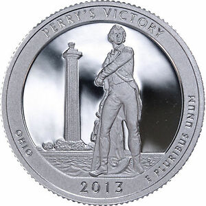 2013 S 25C ATB QUARTER PERRY'S VICTORY GDC PROOF CN CLAD 50 CENTS SHIPPING