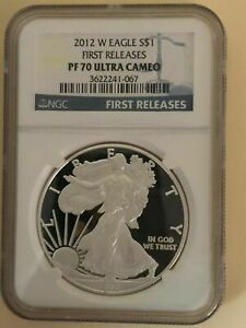 2012 W PROOF SILVER EAGLE NGC PF70 ULTRA CAMEO EARLY RELEASES BLUE LABEL