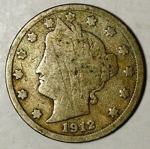 1912 P 5C LIBERTY HEAD NICKEL 18HS0909 50 CENTS SHIPPING