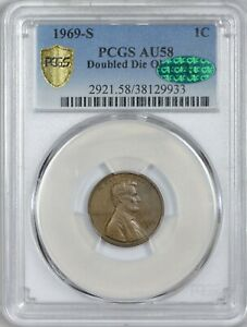 Click now to see the BUY IT NOW Price! 1969 S DOUBLE DIE LINCOLN CENT PCGS AU58 CAC APPROVED SUPER  VARIETY