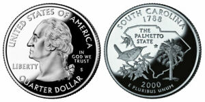 2000 S 25C STATE QUARTER SOUTH CAROLINA GDC PROOF 90  SILVER 50 CENTS SHIPPING