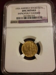 1926 US GOLD $2.50 SESQUICENTENNIAL OF AMERICAN INDEPENDENCE   NGC BU DETAILS