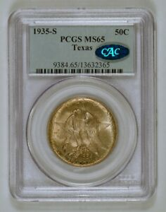CAC AND PCGS ERROR  1934P IN A 1935S HOLDER  TEXAS COMMEM HALF DOLLAR MS65