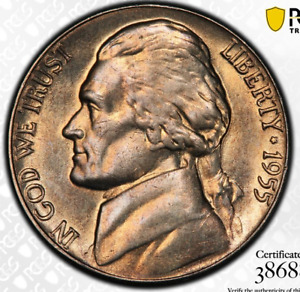 Click now to see the BUY IT NOW Price! 1955 JEFFERSON NICKEL PCGS MS66 FS   POPULATION  1  ONE HIGHER