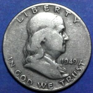 1949D FRANKLIN HALF DOLLAR 90 SILVER  EXACT COIN IN FLIP