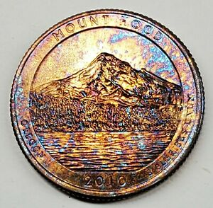 2010 P MOUNT HOOD UNCIRCULATED UNC QUARTER RAINBOW TONE TONED TONING