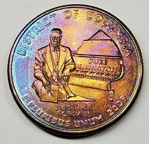 2009 D DISTRICT OF COLUMBIA UNC QUARTER COLORFUL RAINBOW TONE TONED TONING