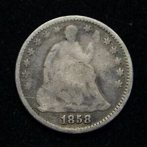 1858 SEATED LIBERTY SILVER HALF DIME JEWELRY PIECE SOLDERED ON REVERSE  BB3861