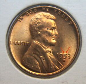 1953 D LINCOLN WHEAT PENNY WITH ERROR 5 & T