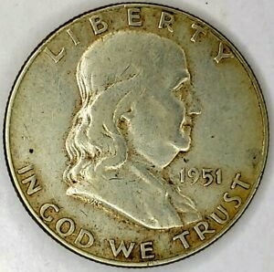 1951 P 50C FRANKLIN HALF DOLLAR 90  SILVER 20WCL0216 50 CENTS SHIPPING
