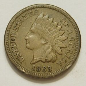 1863 COPPER NICKEL INDIAN HEAD SMALL CENT VF