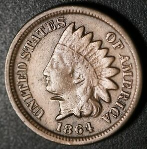 1864 INDIAN HEAD CENT WITH LIBERTY   NEAR FINE DETAILS   CN COPPER NICKEL
