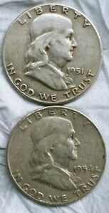 1951 P AND 1954 D FRANKLIN HALF DOLLAR COINS 90   SILVER