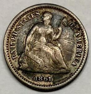 1861 LIBERTY SEATED HALF DIME SILVER FIVE CENT COIN   DAMAGED