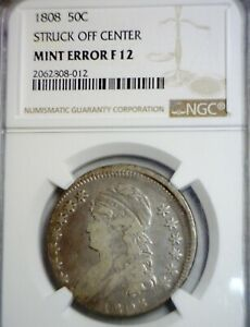 1808 NGC SUPER  OFF CENTER ERROR BUST HALF   NICE CERTIFIED O/C COIN   NR