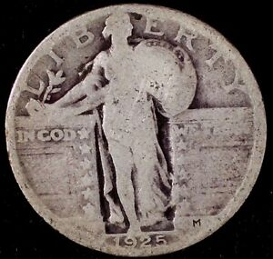 1925 P 25C STANDING LIBERTY QUARTER 90  SILVER SUU 50 CENTS SHIPPING