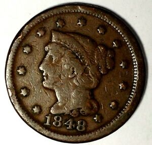 1848 P 1C BRAIDED HAIR LARGE CENT 18LTCT0721 50 CENTS SHIPPING