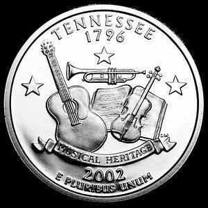 2002 S 25C STATE QUARTER TENNESSEE GDC PROOF CN CLAD 50 CENTS SHIPPING