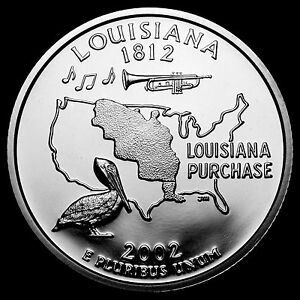2002 S 25C STATE QUARTER LOUISIANA GDC PROOF CN CLAD 50 CENTS SHIPPING