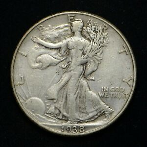 1938 D WALKING LIBERTY HALF DOLLAR FINE    CN6934