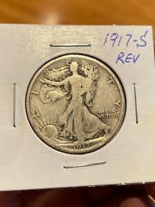 1917 S REVERSE WALKING LIBERTY HALF DOLLAR SEMI KEY DATE  1917 S WALKER FREE S/H