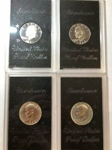 4 SILVER PROOF EISENHOWER DOLLARS 1971 S 1972 S 1973 S & 1974 S BROWN IKES 3