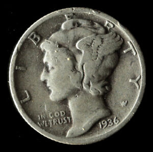 1936 P MERCURY 90  SILVER DIME SHIPS FREE. BUY 5 FOR $2 OFF
