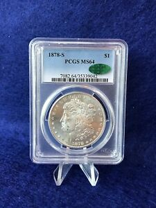 1878 S  MORGAN SILVER DOLLAR $1  PCGS/CAC MS64 CHOICE BRILLIANT UNCIRCULATED