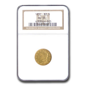 Click now to see the BUY IT NOW Price! 1832 $2.50 GOLD CAPPED BUST QUARTER EAGLE AU 55 NGC   SKU208799