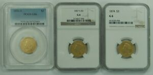THREE DOLLAR GOLD PRINCESS LOWBALL SET LOT OF 3 G6 PCGS NGC 1856 S 1857 S 1874