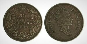 CANADA 1908   1998 PROOF FIFTY CENT PIECE WITH ANTIQUE FINISH