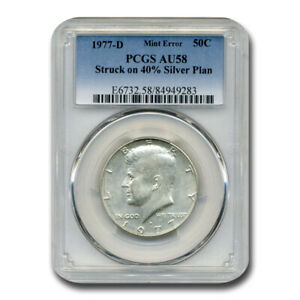 Click now to see the BUY IT NOW Price! 1977 D KENNEDY HALF DOLLAR AU 58 PCGS  STRUCK ON 40  SILVER PLAN    SKU209892