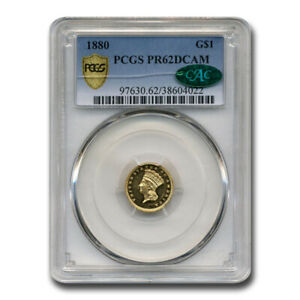Click now to see the BUY IT NOW Price! 1880 $1 INDIAN HEAD GOLD PR 62 DCAM PCGS CAC   SKU209937