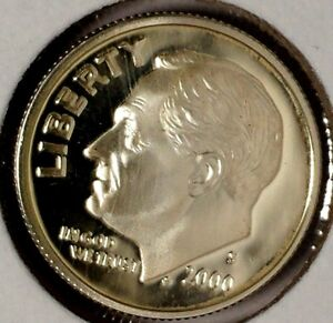 2000 S 10C ROOSEVELT DIME DCG PROOF 90  SILVER 18UTU1202  50 CENTS SHIPPING