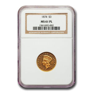 Click now to see the BUY IT NOW Price! 1874 $3 GOLD PRINCESS MS 61 NGC  PL    SKU186410