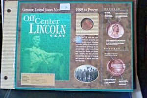 GENUINE UNITED STATES MINT OFF CENTER LINCOLN CENT 1 PENNY 19?? & COA