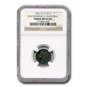Click now to see the BUY IT NOW Price! 1851 $2.50 SAN FRANCISCO CALIFORNIA TOKEN MS 65 NGC  BN K 1A    SKU200506