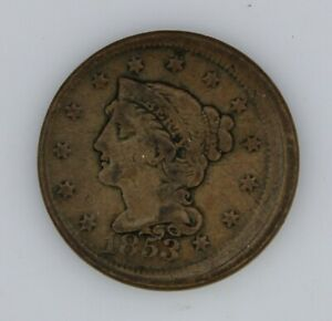 1853 BRAIDED HAIR LARGE 1C  LARGE CENT  FINE CONDITION OBV 5  OFF CENTER