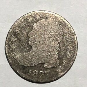 1827 CAPPED BUST SILVER US DIME. AG SOME DAMAGE.  LOTUD