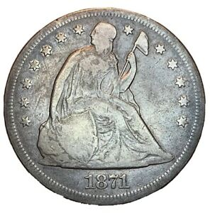 1871 SEATED LIBERTY SILVER DOLLAR    WITH MOTTO   G/VG DETAILS