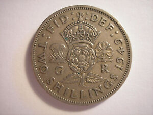 GREAT BRITAIN 1949 FLORIN GEORGE VI KM 878 TWO SHILLINGS