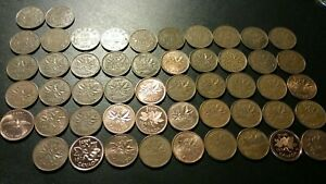 LOT OF 51 CANADA SMALL CENTS. 1920 1921 1926 1927 1928 1930 1932 1933 1934  MORE