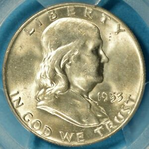 1953 D FRANKLIN HALF DOLLAR PCGS MS65FBL  NICE LOOKING FBL GEM BEN