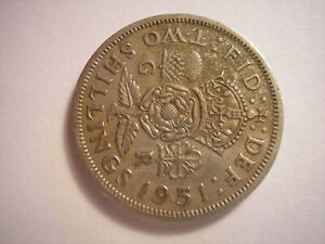 1951 FLORIN KING GEORGE VI ENGLISH TWO SHILLINGS KM 878 GREAT BRITAIN