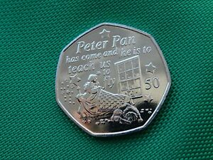 WENDY & NANA   2019 PETER PAN 50 PENCE COIN NEW   MANX   ISLE OF MAN NEW RELEASE