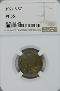 KEY DATE 1921 S BUFFALO NICKEL NGC VF35