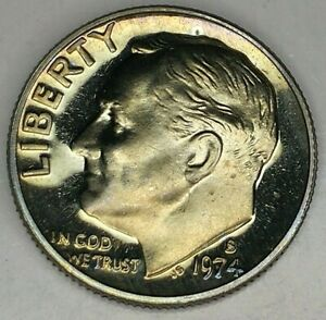 1974 S 10C ROOSEVELT  DIME 19OC0704 3 GDC PROOF CLAD  50 CENTS SHIPPING