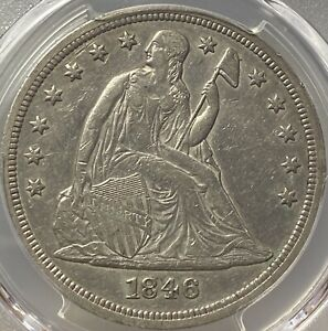 1846 $1 PCGS XF 45 CHOICE LY FINE SEATED LIBERTY SILVER DOLLAR