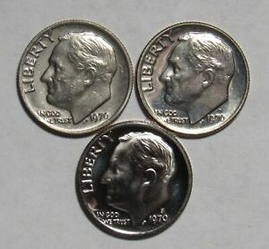 1970 P D&S ROOSEVELT DIMES IN BU AND PROOF CONDITION